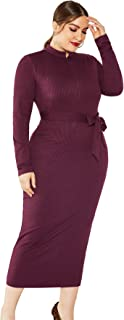 FDBZ Stand Collar Long Sleeve Sashes Zipper Stretchy Slim Midi Dress Autumn Winter Plus Size Women Solid Casual Elegant Office Ladies|Dresses,5237 Wine Red,5XL