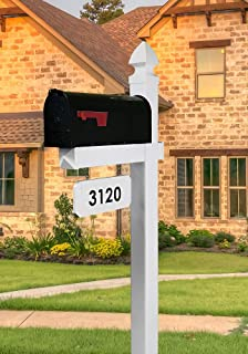The Loudon Mailbox with Post Included - Customized Address Plate Available - Black Metal Mailbox with White Vinyl Post Combo Complete System
