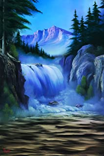 Bob Ross Spectacular Waterfall Art Print Painting Laminated Dry Erase Sign Poster 12x18