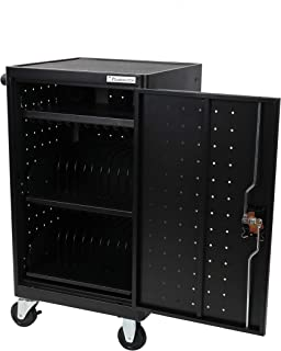 Pearington 24 Bay Fully Assembled Rolling, Charging Cart Station for Classroom and Office- for use with Chromebooks, iPad, Tablets and Laptop Computers; Secure Locking Cabinet Storage-Store up to 15