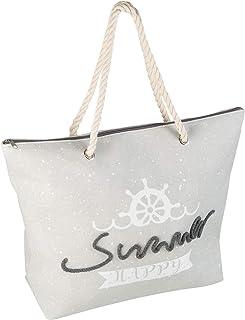 Idena 31017 - Strandtasche aus Canvas mit Reißverschluss, Happy Summer grau, ca. 52 x 38 x 13 cm, ideal als Shopper, Schul...