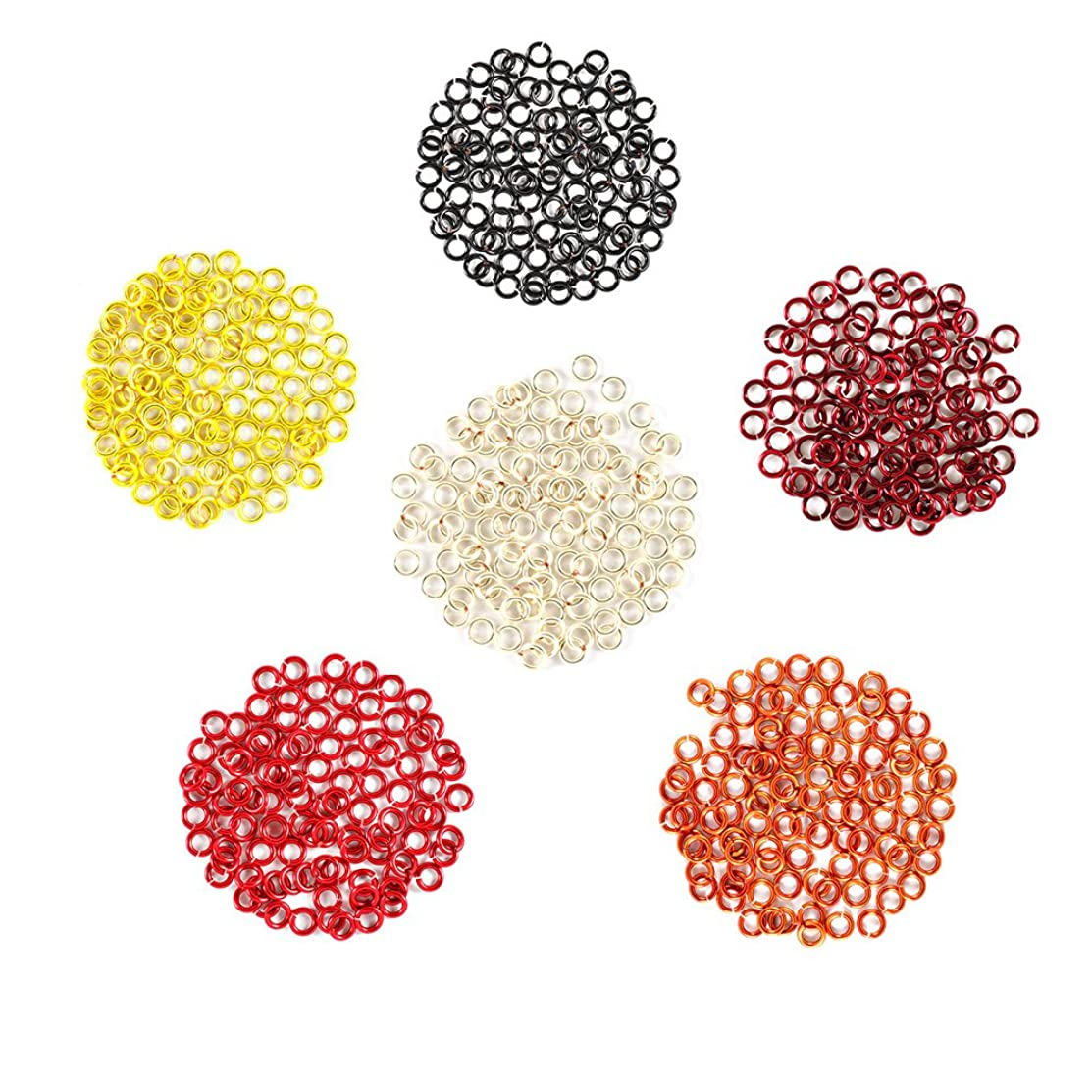 Fire and Sun - Enameled Copper Jump Rings – 18 Gauge – 5.5mm ID - 600 Rings - Black, Burgundy, Orange, Red, Silver, Yellow