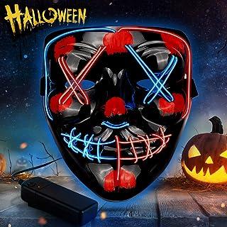 Rosso + Blu Sinwind Maschere Halloween LED Maschera Notte del Giudizio LED Mask Maschere Luminose per Halloween Cosplay Feste del Partito Halloween Costumi The Purge Mask Maschera Neon
