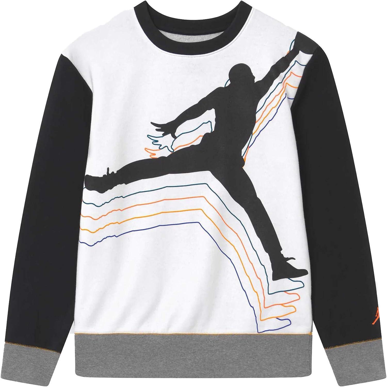 Jordan Youth Boys Big Kids Crew Neck Sweatshirt Cross Court 95A189-GEH - white/black