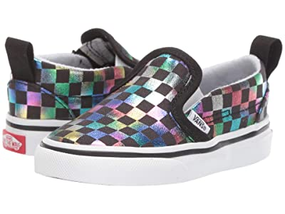 Vans Kids Slip-On V (Infant/Toddler) ((Iridescent Check) Black/True White) Girls Shoes