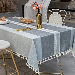 TEWENE Table Cloth, Rectangle Table Cloths Wrinkle Free Tablecloth Cotton Linen Tablecloths Stitching Tassle Tablecloth Grey Table Cloth for Kitchen, Dining, Outdoor Table(55''x86''/6-8 Seats/Grey)