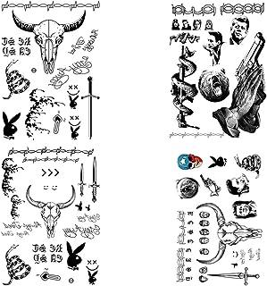 4 Sheets Halloween Face Tattoos Stickers Face Makeup Tattoo Set Face Neck Hands Arm Body Art Tattoos Halloween Temporary T...