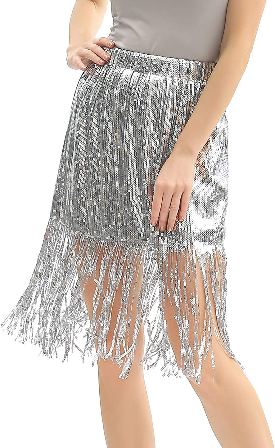 Radtengle Women's Sequin Skirt Sparkly Midi Skirts Pencil for Work Party Shimmer Cocktail Clubwear with Sequin Tassel