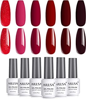 AILLSA Burgundy Red Gel Nail Polish, 6 Colors UV Gel Nail Polish Set with Magenta Pink Glitter Red Soak Off Gel Polish Tre...