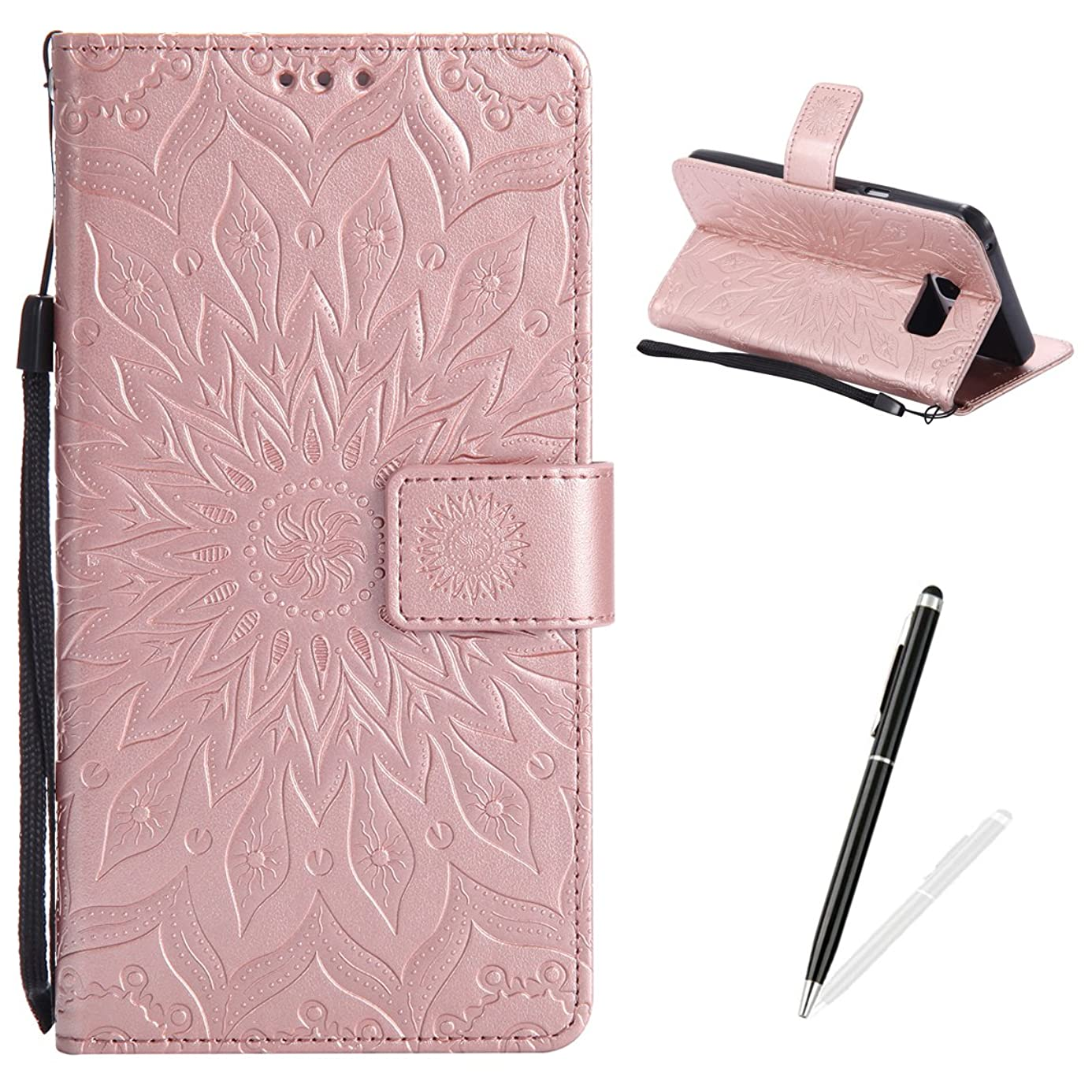 MAGQI Samsung Galaxy Note 5 Case Anti-Scratch Slim Fit Cover, Embossed Mandala Sunflower Serise Luxury Soft PU Leather Stand Vintage Retro Wristlet Flip Wallet Card Slots Skin Shell