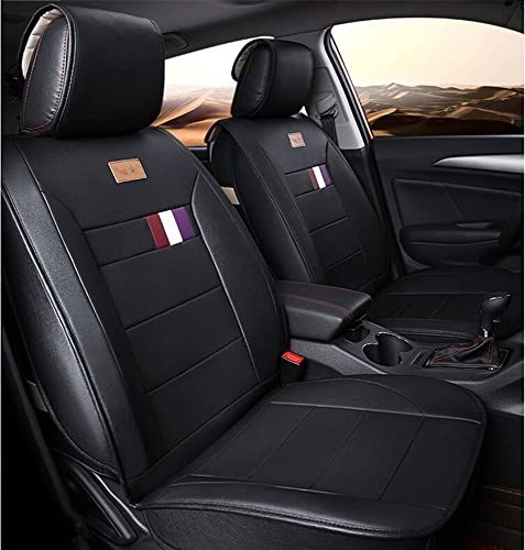 wholesale Luxurious Airbag Compatible online sale Universal Full Set sale Easy to Clean PU Leather Car Seat Cushions 5 Seats Black outlet sale