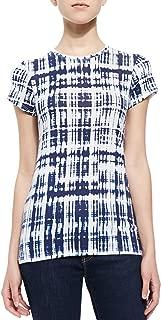 Womens Short Sleeve Ikat Print Tee, White-Dark Indigo Blue - Size XSmall