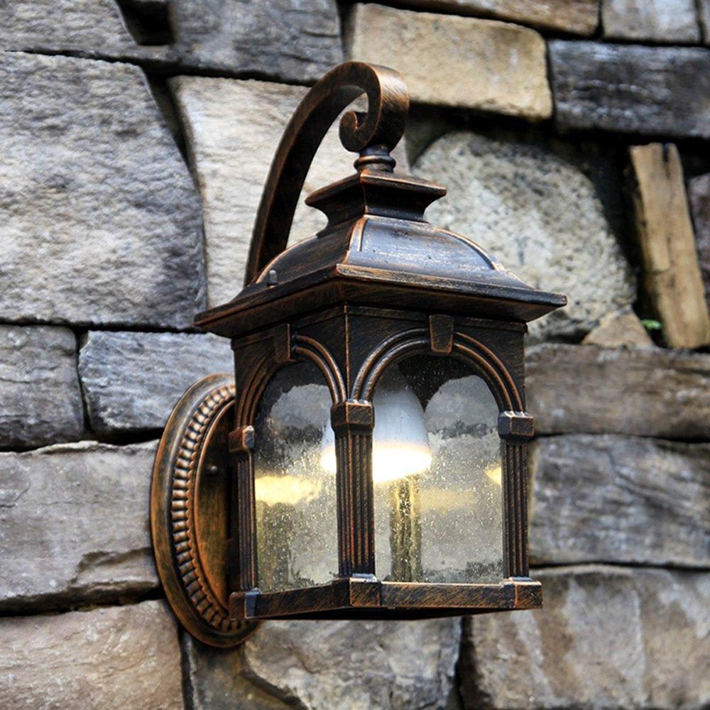 Hdmy Luz de la pared Exterior Casa de Campo Casa de Campo Exterior Farola Exterior Exterior Europeo Villa Luces de Jardín Luces de Puerta Balcón Vintage Lámpara de Pared Aplique: Amazon.es: Hogar