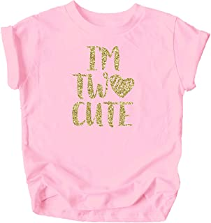Im Two Cute 2nd Birthday Shirt for Toddler Girls Second Birthday Outfit