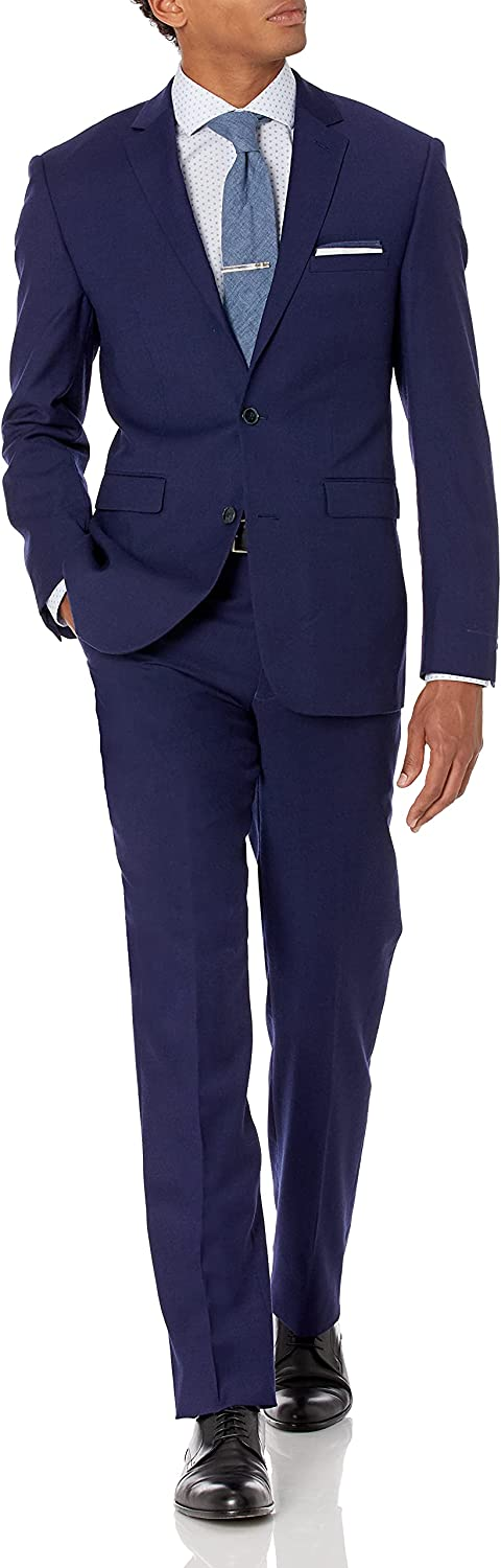 Vince Camuto Men's Slim Fit free shipping Solid Blue 100% Suit shop Wool