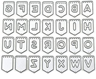 Monrocco Banner Shape Metal Alphabet Letter Cutting Dies DIY Scrapbook Card Album Paper Craft Embossing Template Embellishments Stitched Stencil