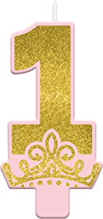"""Amscan Party Candles, 5"""" H x 2 1/2"""" W x 1/2"""" D, Glitter Gold and Pink"""