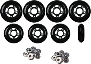 Player's Choice Inline Skate Wheels Hilo Set 72mm 80mm 82A Black Outdoor Hockey -ABEC 5 Bearings