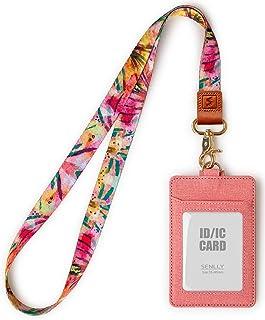SENLLY Porte-badge d'identification avec cordon tour de cou mignon, 2 emplacements pour cartes et 1 fenêtre transparente p...