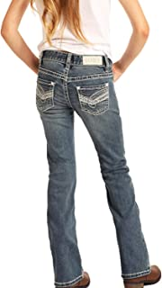 Rock & Roll Cowgirl Girls' and Medium Scroll Bootcut Jeans - G5-4149