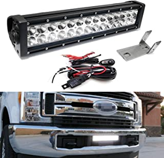 iJDMTOY Lower Grille Mount LED Light Bar Kit For 2017-up Ford F250 F350 Super Duty, Includes (1) 84W High Power LED Lightbar, Lower Bumper Opening Mounting Brackets & On/Off Switch Wiring Kit