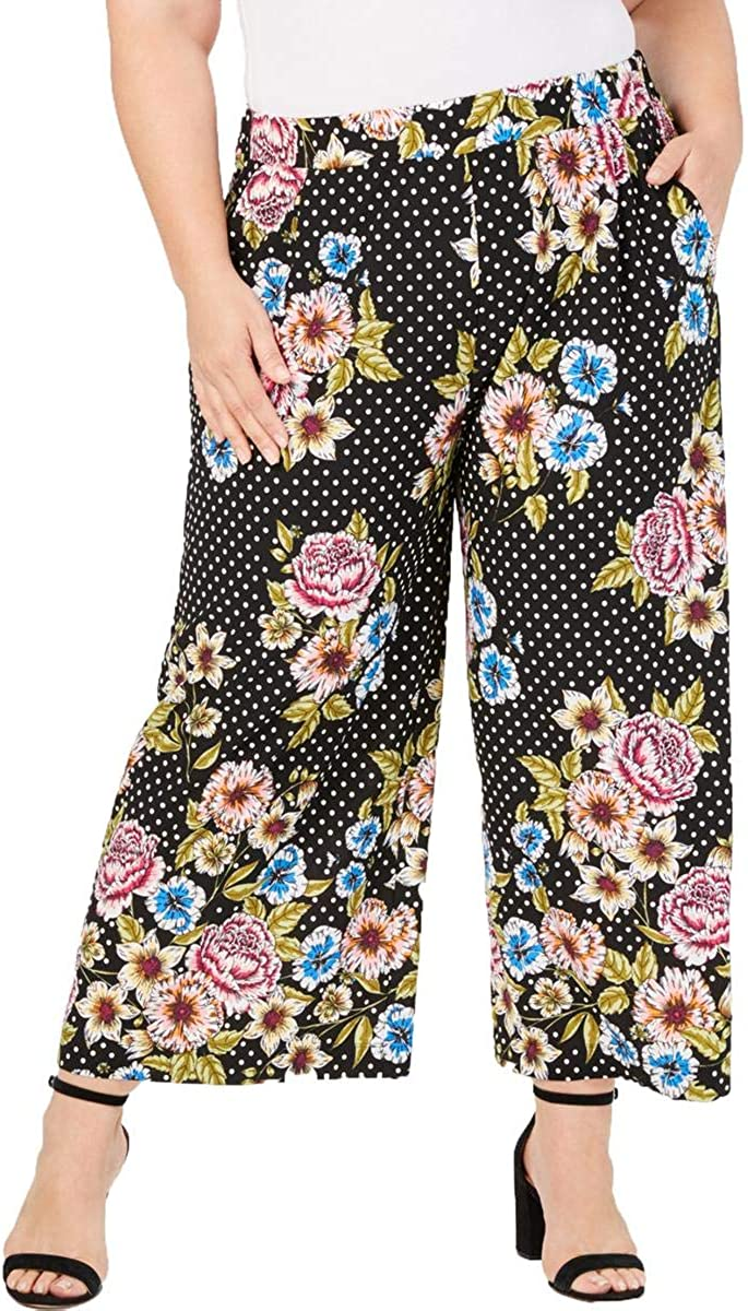 John Paul Richard Womens Plus Polka Dot Floral Pants