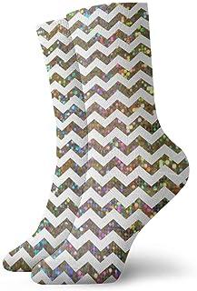 tyui7, Glitter Ripple Calcetines de compresión antideslizantes Cosy Athletic 30cm Crew Calcetines para hombres, mujeres, niños