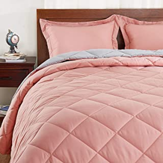 Basic Beyond Down Alternative Comforter Set (Queen, Coral/Grey) - Reversible Bed Comforter with 2 Pillow Shams for All Seasons