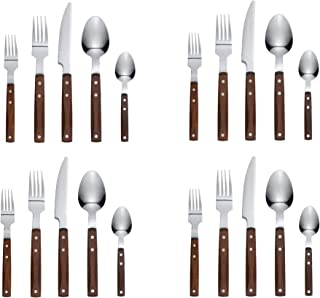 Ikea Flatware 20 Piece Wood Stainless Steel Brown Rustik