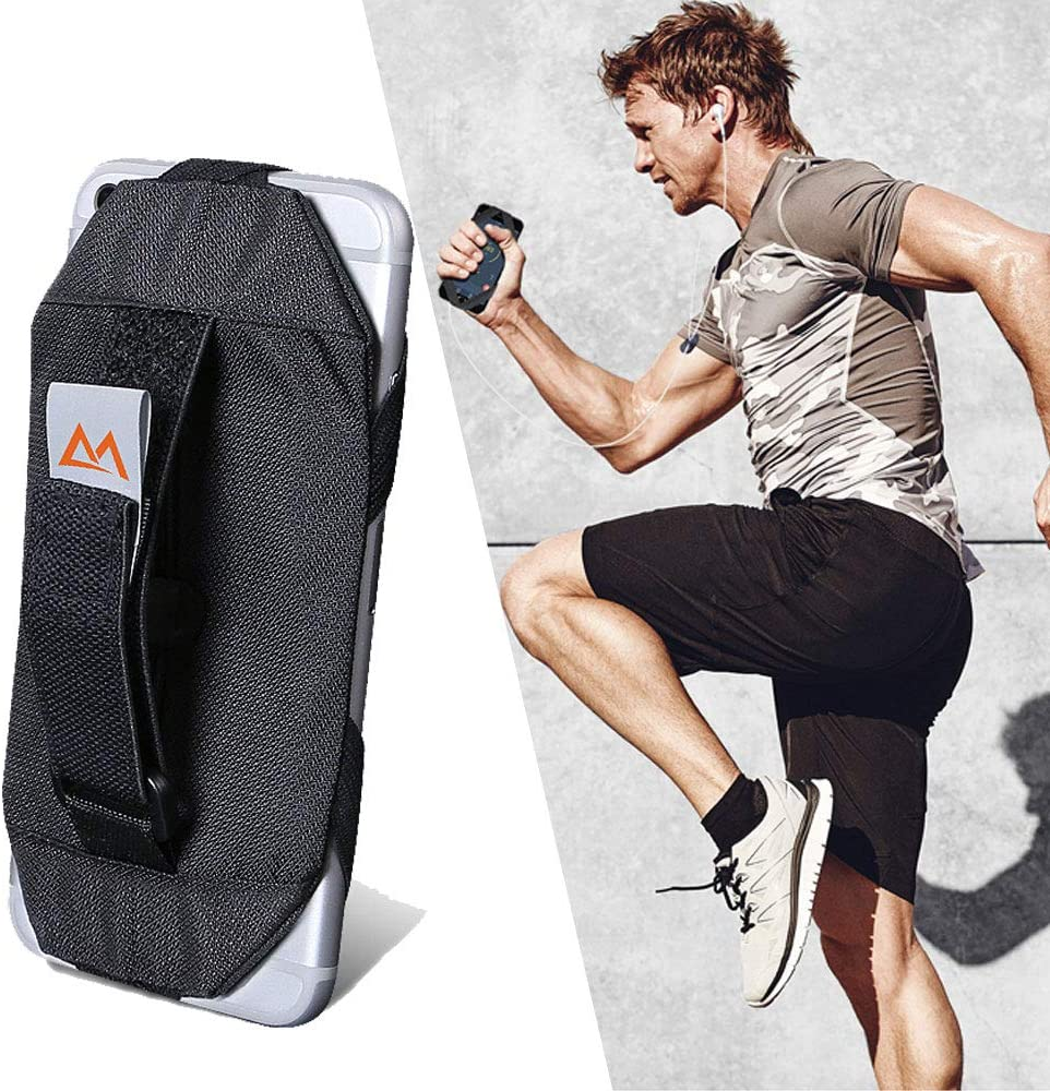 Hand Held Running Case Pouch, Universal Cell Phone Holder Finger Strap for iPhone X/XS/8/7/7S/6/6S/SE, Samsung Galaxy S10/S9/S8/S7/S6, Phone Hand Grip Exercise Case for Running Jogging Workout, Black