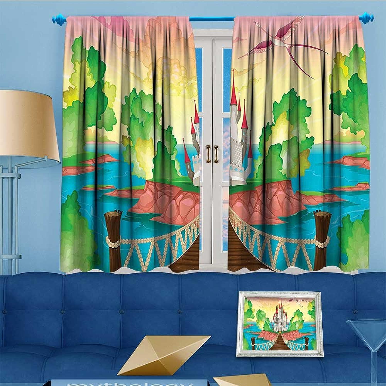 Mikihome Antique Decor Collection, Princess Castle Above Wooden Bridge Phoenix Bird Fairy Dream,Living Room Bedroom Curtain 2 Panels Set, 63  W x 45  L