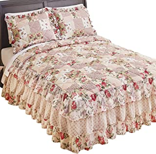 Collections Etc Light Pink Rose Garden Quilt-Style Tiered Ruffled Bedspread - Seasonal Décor for Bedroom, Taupe, Full