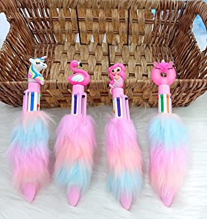 GoMerryKids Set of 4 6-in-1 Retractable Roller Ball Multicolor Feather Fur Pens Beautiful Mermaid Unicorn Pens Gel Pen Set...