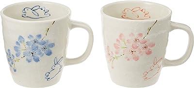 エールネット(Ale-net) 花うさぎ ピンク & ブルー ペア マグカップ セット 陶器 美濃焼 MK
