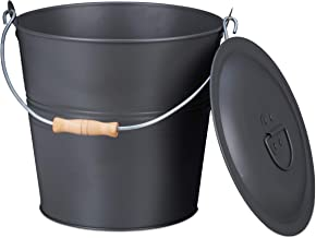 Relaxdays Asemmer met deksel, 12 liter, asbak met draaggreep, voor houtskool en as, rond, open haard, oven & grill, grijs
