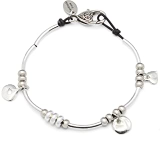 Gigi Anklet in Natural Black Leather and Silver Plate Crescents and Charms