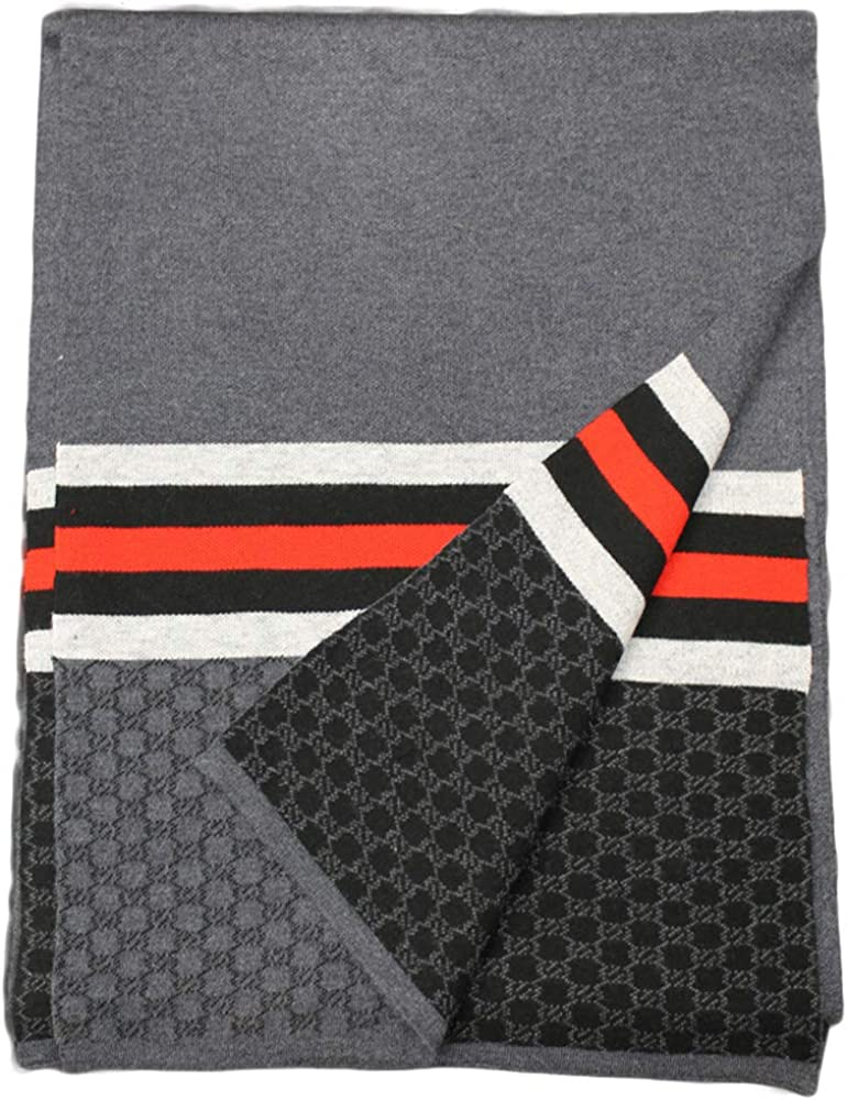 052-1 MENS WOOL BLEND SOFT/THICK STRIPED SCARF