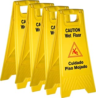 Tiger Chef Yellow Wet Floor Caution Sign, 2-Sided Fold-Out, Floor Safety Sign, Caution Wet Floor 24-inch by 12-inch Cuadado Piso Mojado (4 Pack)