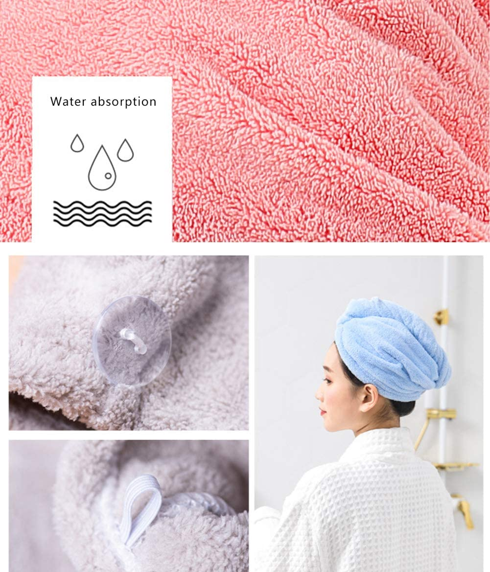 Super Absorbent Microfiber Hair Towel to Dry Long Hair Quickly(Coffee,Pink,Khaki) Kueimovi Hair Turban Towel 3Pack Premium Coral Fleece Dry Hair Towel With Loop and Button