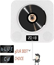 Portable Bluetooth DVD/CD Player, Wall-Mounted HDTV Speaker 1080p Dual Pull Switch, Home with Remote Control and FM Radio and Timer USB and AV Output and LCD Display Black