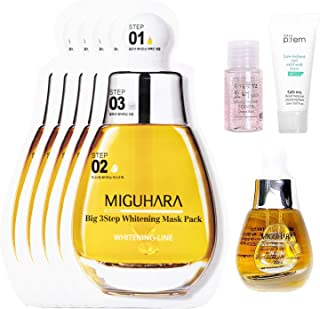 MIGUHARA Ultra Whitening Ample 20ml + Facial Mask Sheets 5 Pack Skin Care Set | Skin Brightening, Whitening, Hydrating for...