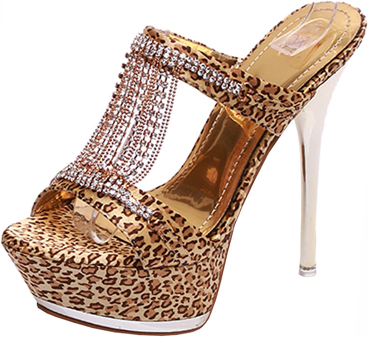 Atyche Women's Extremely High Heels Slingback Mules Open Toe Pumps with Rhinestones Stiletto Slippers