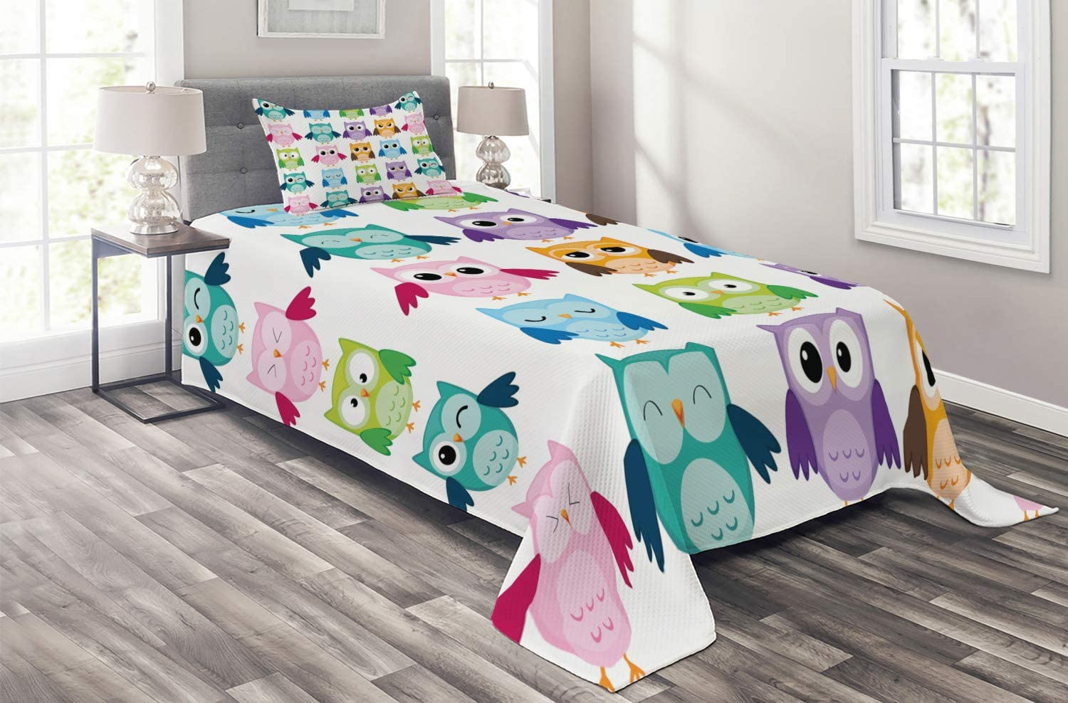 Ambesonne Nursery Coverlet At the price of surprise In a popularity Colorful Owl Pattern Friendly Birds