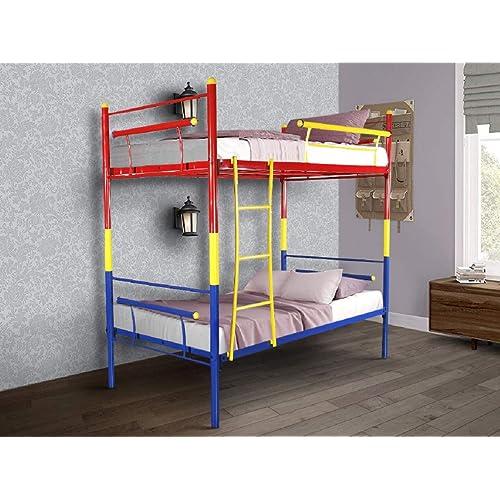 FurnitureKraft Barcelona Metal Tri Colour Bunk Bed,Multicolor