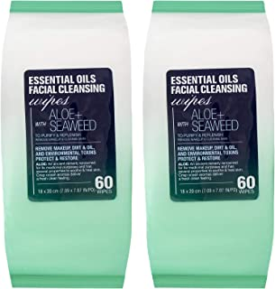 Essential Oils - 2 Pack (60 Count Each) Aloe and Seaweed Facial Cleansing Wipes