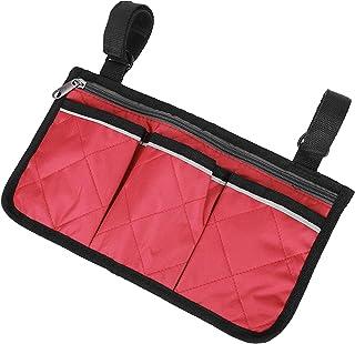 Scooterarmsteun zijtas Multifunctionele rolstoeltas (zwart-rood) voor kamperen en reizen op het veld, fiets- en visliefheb...