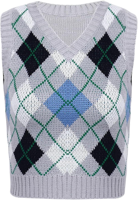ranrann Y2K Vintage Argyle Plaid Sweater Vest Women Preppy Style V Neck Crop Knitwear Tank Top