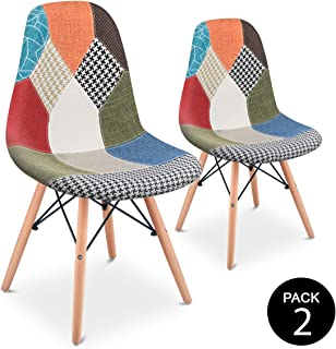 Mc Haus SENA Patchwork - Pack 2 Sillas comedor vintage patchwork tower multicolor verde diseño tapizado sillas salon estil...