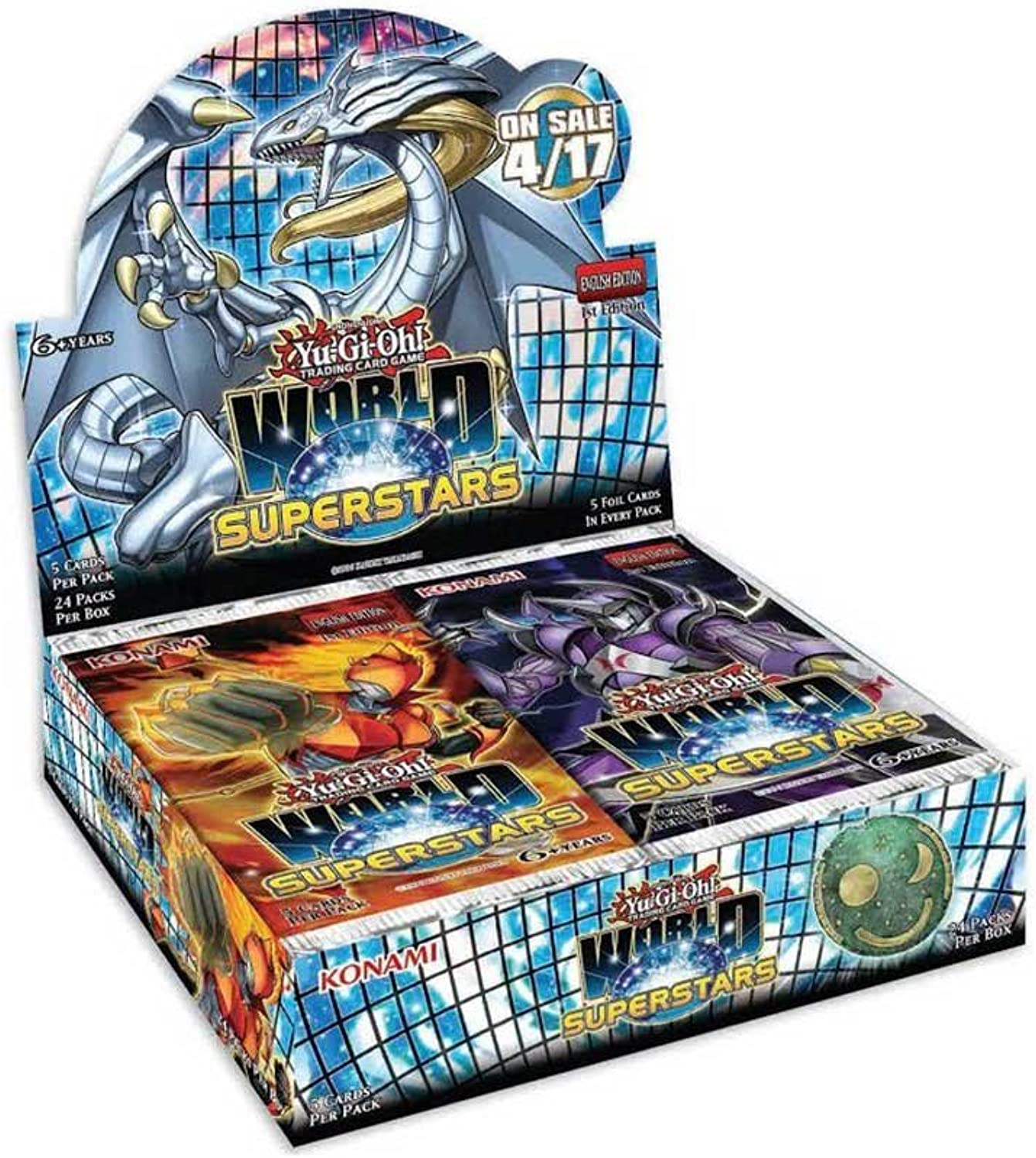 YUGIOH  WORLD SUPERSTARS ENGLISH EDITION 1ST EDITION 5CARDS PER PACK 24 PACKS PER BOX