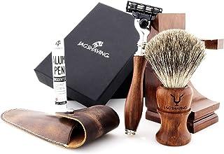Jag Shaving Shaving Kit - Duurzame 3-delige scheerset - van hout - 3 randen scheerscheermes - Super Badger scheerkwast - E...